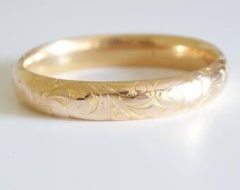 Antique early 1900s Edwardian Rose Gold Filled Bangle Bracelet Vintage