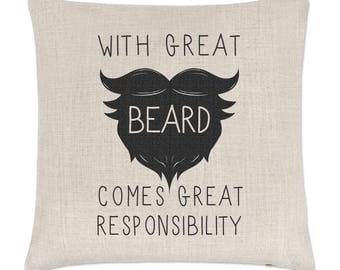 With Great Beard Comes Great Responsibility Linen Cushion Cover