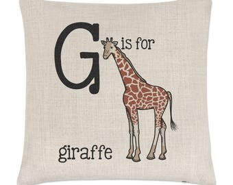 Letter G Is For Giraffe Linen Cushion Cover