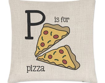 Letter P Is For Pizza Linen Cushion Cover