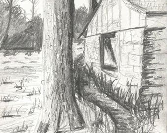 """Pencil drawing, landscape, limestone building, original drawing, graphite, black and white 5.5"""" x 8.5"""" drawing only, no frame"""