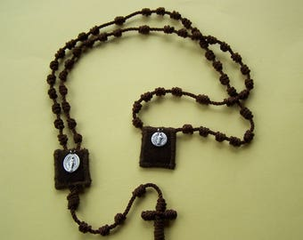 Scapular Rosary ALL in One  Knotted Twine Rosary with built in 100% Brown wool Scapular + Miraculous medal and St Benedict medal