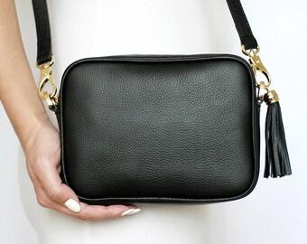 Free shipping! Black bag, leather bag, black leather bag, black purse, black crossbody, black shoulder bag, everyday bag, small black bag