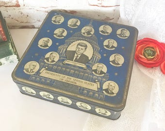 Vintage 1960's JFK Kennedy USA Presidents Tin Box, Murray Allen Import Regal Crown, Chocolates biscuit candy, canister, vanity, tr