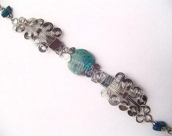 Round Green Turquoise Alpaca Silver Curls Bracelet Peruvian Jewelry - Handmade in Peru