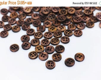 Tiny Dark Brown Wooden Button, Small Natural Wood Buttons, Four Holes Sewing Button, Blouse Shirt Button, Raised Edge Button, 10mm