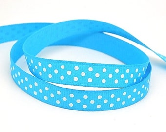 3 meters of turquoise Ribbon with polka dots grosgrain Ribbon 10mm