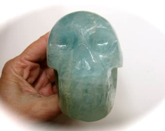 Brazilian Aquamarine Blue Beryl Crystal Skull 83mm 455g