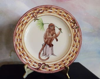Decorator Plate With Monkey_Porcelain Monkey Plate_Monkey Sitting With Palm Branch