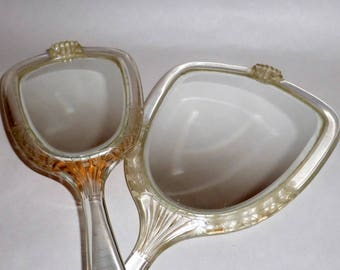 Vintage 1940's Vanity Double Sided Lucite Hand Mirror & Bristle Brush