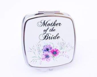 Mother of the Bride Pocket Mirror - Gift for the Bride's Mother - Compact Pocket Mirror for Wedding - Bridal Party Gifts