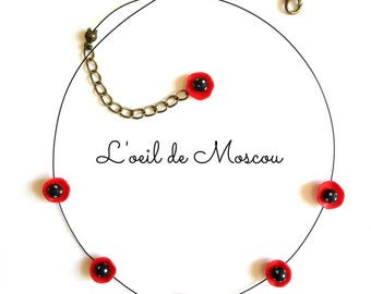 Necklace red and black polka dot white
