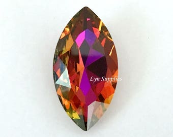 4227 VOLCANO 32x17mm Swarovski Crystal Large Navette Marquise Faceted Fancy Stone No Hole, Rainbow Rare