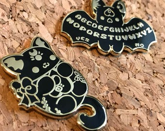 Kawaii Occult Enamel Pins - ( Cute goth gold black ouija bat cat cats kitties halloween pin )
