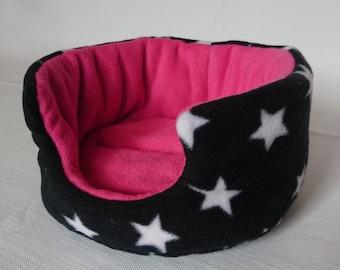 Fleece Cuddle Cup , Bed for Guinea Pig , Pygmy Hedgehog , Degu , Rat etc ( Black & White Stars , Pink )