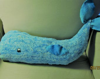 "Cottage Chic, Hooked Rug Aqua Blue Whale Pillow 21"" Long"