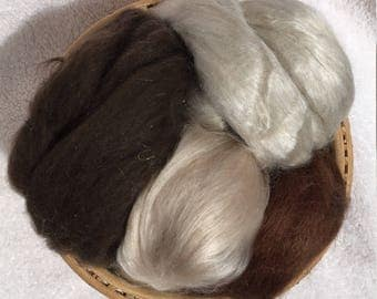 Luxury fiber sampler with Cashmere/Silk, Yak, Camel/Silk, and Alpaca/Silk
