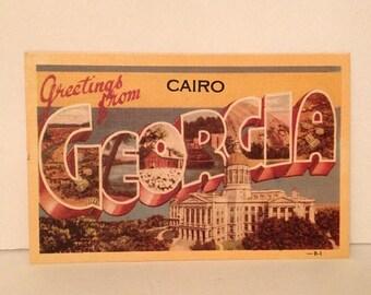 ON SALE Vintage 1940's Linen Postcard Greetings from Cairo Georgia GA