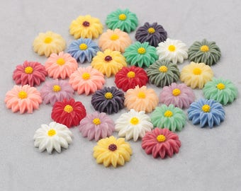 18mm Resin Flower Cabochons / Mixed Lot Resin Flowers Supplies Wholesale SZ-001-2