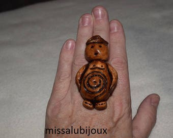 xxl polymer clay, earth goddess ring