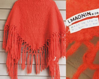 I Magnin wool shawl tassels extra long fringe piano scarf shawl wrap orange red hippie hippy rich luxe boho bohemian 1970s 70s 60s 1960s mod