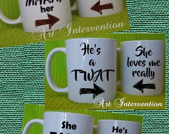 TWO X Funny Adult, couples mugs - *WARNING: SWEARING* - Brave enough to marry