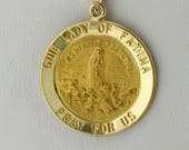 Our Lady of Fátima Medallion/Charm 14K Gold Virgin Mary