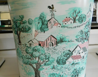 Cheinco retro oval metal wastebasket turquoise and pink / oblong country scene trash can / metal waste basket