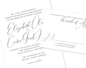 Romantic Script Wedding Invitation | Calligraphy | Modern Wedding Invitation | DIY Option Available | Invitation | RSVP | Info Card #1208