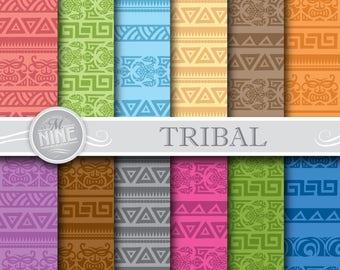 TRIBAL Digital Paper / Colorful Tribal Tattoo Patterns / Hawaiian Party, Polynesian Art, Instant Downloads, Printable Scrapbook Paper