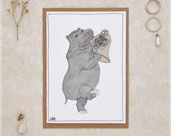 The Hippo and Her French Horn ~ Greeting Card from Original Ink and Watercolour Painting