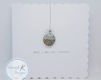 Irish Pebble Art & Stone Art Happy Christmas Card - Handmade in Ireland with Irish pebbles - Have a ball this Christmas