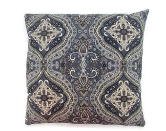 Charcoal Grey with Black, Tan and White Paisley-Invisible Zipper Pillow Cover Gray-Bedroom-Couch-Party-RV