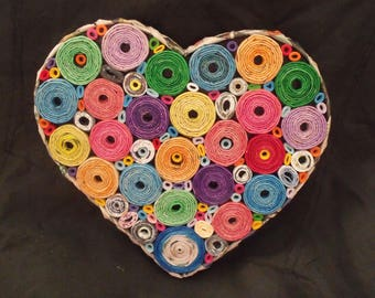 Heart Shaped Wall hanging,Table ware, Love heart, Bedroom, Kids room,Multi Coloured Heart,Unique, Up-cycled, Paper,100% Aussie maker