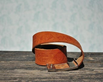 Leather belt, womens belt, womens leather belt, vintage belt, tooled leather belt, genuine leather belt, brown leather belt