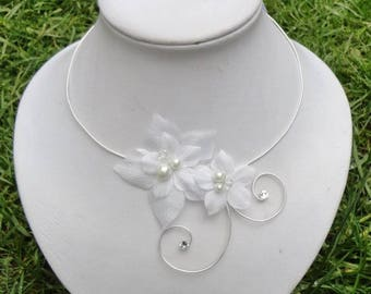 Bridal wedding party personalized satin flowers bridal necklace
