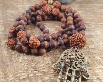 Mala Beads, 108 Bead Mala Necklace, Mala Necklace, Meditation Beads, Rudraksha Mala, Hamsa Hand Mala