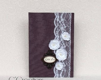 Guestbook {Vintage}  A5 size in plum canvas, lace and white satin flowers