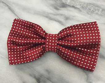 Red Polka Dots Bowtie for Wedding Dog Outfit Pet Wedding Burgundy Bow Tie Black Dog Collar Valentine's Day Holiday Christmas Bow Tie