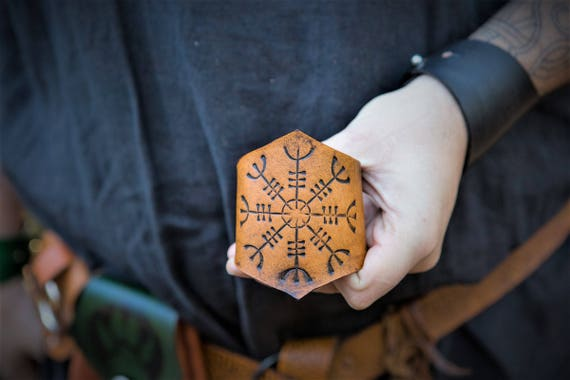 Viking Leather Wrist Cuff - Norse Ægishjálmr Helm of Awe Design - Larp Cosplay