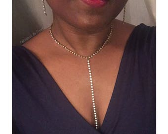 Effortless: Linear, Rhinestone Earrings and/or Necklace