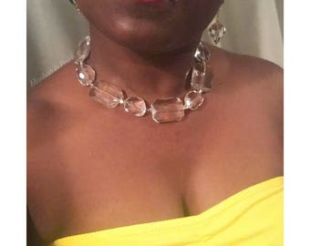 Clarity: Crystal Glass Earrings and/or Necklace