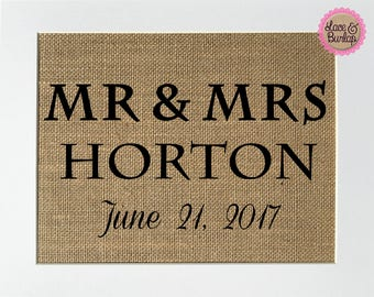 Mr & Mrs Custom Order Wedding Gift / Burlap Print / Anniversary gift / Valentines day gift / Wedding date sign / Wedding announcement /