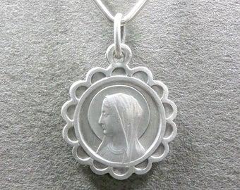 French, Antique Religious Pendant. Saint Virgin Mary. Bernadette Soubirous Lourdes. Medal.