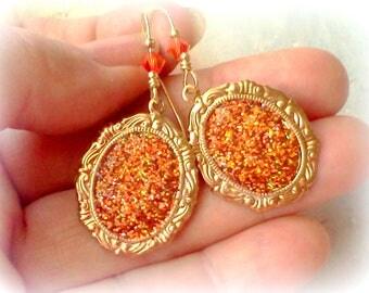 Orange Earrings, Faux Druzy Fire Opal, Oval Drusy Earrings, Handmade Earrings, Colors of Sunset Earrings, Glittery Orange Dangles, Boho