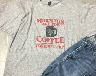 SALE - Today ONLY 18 - Stranger Things Tee - 80's tee - retro tee - Hopper - Mornings are for coffee and contemplation - coffee tee -Netflix