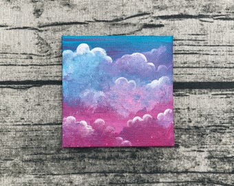 A little piece of Heaven - original tiny small canvas acrylic painting art - clouds sunset sky