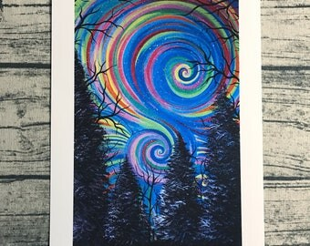 Psychedelic art, trippy art, colorful swirl landscape tree 8.5 x 11 high quality painting print
