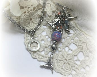 Interchangeable Hummingbird & Lampwork Glass Beaded Pendant Charm Necklace