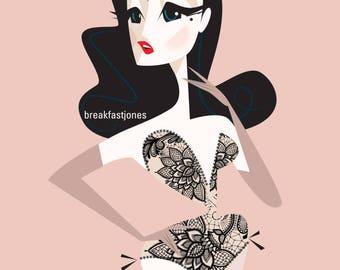 Dita Von Teese Digital Art Print, Dita Illustration, Dita Von Teese Illustration, Burlesque Art, 8.5x11 Print, Gift for Pinup Fan, Pinup Art